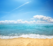 Sandy beach and sea Stock Image
