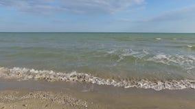 Sandy Beach. Sea view video. Sandy Beach. Shells sand. Blue sky. Steady video. Smooth video. Steadicam shot stock footage