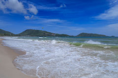 Sandy Beach and Sea Wave Foam on Coast in Phuket , Thailand Royalty Free Stock Photography