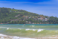Sandy Beach and Sea Wave Foam on Coast in Phuket , Thailand Stock Images
