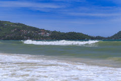 Sandy Beach and Sea Wave Foam on Coast in Phuket , Thailand Stock Photography