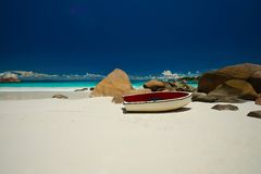 Sandy beach Seychelles Royalty Free Stock Photos