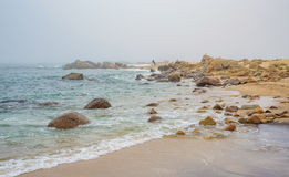Sandy beach shore sea ocean water with rocks and stones during fog Stock Images