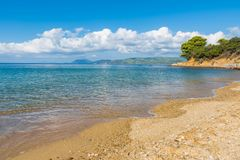 Sandy beach Skiathos. Sandy beach in Skiathos Island, Greece, september 2018 royalty free stock photos