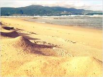 Sandy Beach sob a luz solar Fotos de Stock Royalty Free