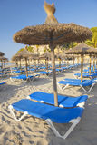 Sandy Beach With Straw Umbrellas and Sunbeds. Beautiful Sandy Beach with Straw Umbrellas at Sunrise in Paguera, Majorca ( Balearic Islands - Spain royalty free stock photography