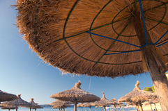Sandy Beach With Straw Umbrellas and Sunbeds. Beautiful Sandy Beach with Straw Umbrellas at Sunrise in Paguera, Majorca ( Balearic Islands - Spain stock images