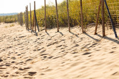 Sandy beach in summer and grassy dunes with fence Stock Photography