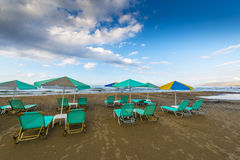 Sandy Beach With Sunbeds royalty free stock image