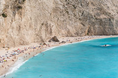 Sandy beach in a sunny waether on Lefkada, Greece Royalty Free Stock Images