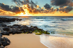 Sandy Beach Sunrise Stock Images