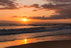 Sandy beach at sunrise Royalty Free Stock Images