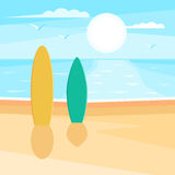 Sandy beach with surf. Sea landscape. Seagulls in the sky at sun. Vector illustration design for web banner, print promotional materials or greeting cards Royalty Free Stock Photo