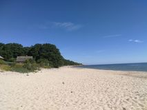 Sandy beach on the Swedish Baltic Sea coast. By beautiful weather stock images