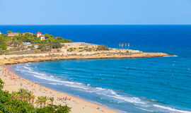 Sandy beach of Tarragona in warm summer day Royalty Free Stock Photography