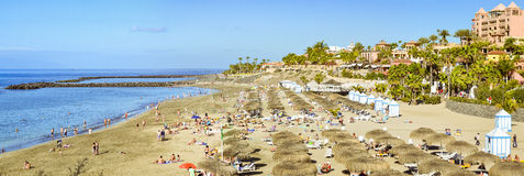 Sandy beach with thatched parasols and sunbeds, Costa Adeje, Ten Stock Photos