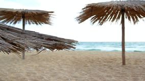 Sandy Beach With Thatched Umbrellas On A Windy Day. Turquoise sea and umbrellas on the sandy beach stock video footage