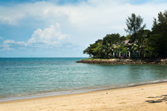 Sandy beach with trees and ocean in the distance Royalty Free Stock Image