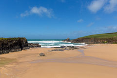 Sandy beach Trevone Bay North Cornwall England UK near Padstow and Newquay Stock Images