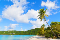 Sandy beach on a tropical island. Royalty Free Stock Photography
