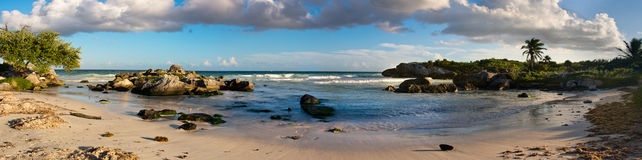 Sandy Beach tropical no mar das caraíbas méxico Fotografia de Stock Royalty Free