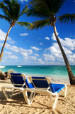 Sandy beach of tropical resort. With palm trees and two reclining chairs Royalty Free Stock Photo