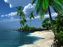Sandy beach in the tropics Royalty Free Stock Image
