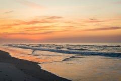 Sandy Beach in ventnor city beach in atlantic city, new jersey a. T sunrise stock image