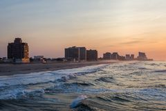 Sandy Beach in ventnor city beach in atlantic city, new jersey a. T sunrise stock photo