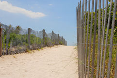 Sandy Beach Walkway. Sand walkway on the beach. Wooden fence and grasses on sides. Sunny summer day Stock Photo