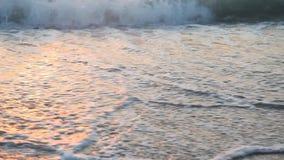 Sandy beach waves at sunset Ocean stock video footage