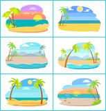 Sandy Beaches in Broad Daylight and at Sunset Set. Tall palms and blue ocean at paradise resorts. Tropical beaches isolated vector illustrations vector illustration