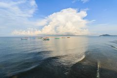 Sandy beaches and colorful fishing boats. Royalty Free Stock Images
