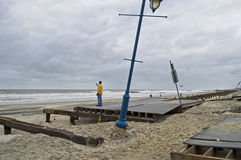 Sandy Belmar Boardwalk Damage Stock Image