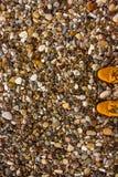 Sandy Boots und mehrfarbige Kiesel lizenzfreie stockbilder