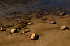 Sandy Bottom with Stones in Water Royalty Free Stock Photos
