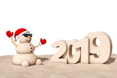 Sandy Christmas Snowman chez Sunny Beach avec le signe de la nouvelle année 2019 illustration libre de droits