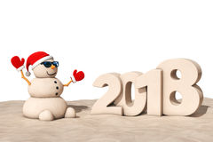Sandy Christmas Snowman a Sunny Beach con un segno da 2018 nuovi anni illustrazione di stock
