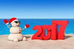 Sandy Christmas Snowman at Sunny Beach with 2017 Ney Year Sign. Sandy Christmas Snowman at Sunny Beach with 2017 Ney Year Sign extreme closeup. 3d Rendering vector illustration