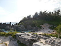 Sandy cliff. Clear skies at a cliff near Horseshoe beach Bermuda Stock Photography