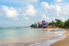Sandy coast beach and hotels with sea view Stock Image