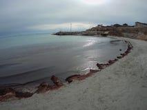 Sandy coast of the Caspian Sea. Aktau. Kazakhstan stock photos