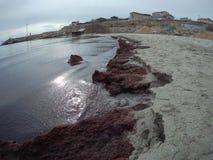 Sandy coast of the Caspian Sea. Aktau. Kazakhstan stock photo