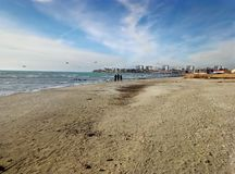 Sandy coast of the Caspian Sea royalty free stock images