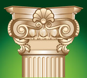 Sandy column top capital vector illustration. Decorated sandy column top capital chapiter vector illustration over green Royalty Free Stock Image