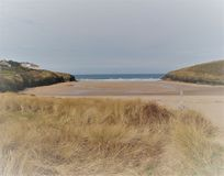 ` Sandy Cornish Beach ` royalty-vrije stock foto's