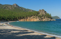 Sandy cove of Lake Baikal Royalty Free Stock Photo