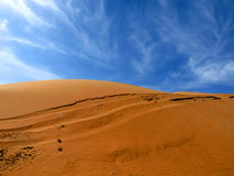 Sandy Desert Dunes. Red Sandy Desert with Blue Sky in the background Stock Photos