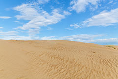 Sandy desert. Landscape, dunes, with blue sky on the background Royalty Free Stock Image