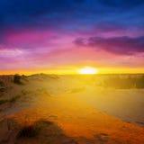 Sandy desert at the sunrise Royalty Free Stock Photos